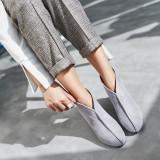 Pure color women's shoes fashion, fresh and simple ethnic style, thick and short leather boots