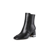 Autumn winter 2018 hot style women's shoes bright pointed rough heel water drill short style increase thick heel women's boots