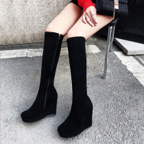 Women's shoes 2018 fashion style suede waterproofing platform pure color black simple lady fan heightening show thin boots