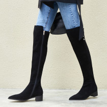 Winter 2018 women's shoe style hot style black pointed low over-the-knee boots