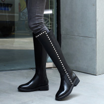 2018 fashion style Korean women's shoes leather round head pure color black simple rivet decoration and knee boots