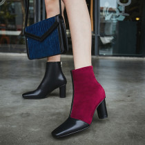 2018 autumn/winter fashion women's shoes trend dermal spell color Korean version rough heel lift short boots