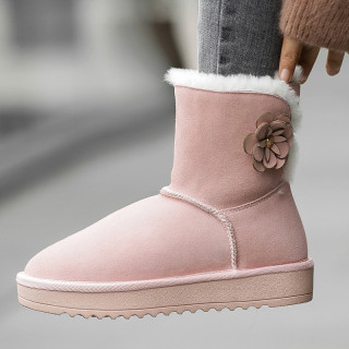 Fashionable women's shoes 2018 warm and frost-proof feet with velvet round head plain colored decals decorated ankle boots snow boots