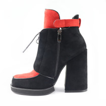 2018 fashion classic women's shoes with color mixed color suede round head lace up cross tied zipper chunky heels platform short boots