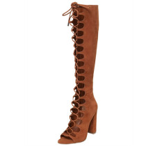 2018 fashionable women's shoes zipper  fish mouth leak empty pure color brown sexy large size lace up summer women's boots retro