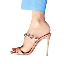 2018 Summer fashionable dress slipper female rivets pure color simple outside wear fashionable female high heel slipper
