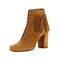 Fall/winter 2018 fashion women's boots short boots party shoes fringed pointed toe brown brown large size lace up