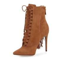 Fall/winter 2018 fashion lace up stilettos heels elegant ladies boots short boots party shoes large size  brown suede