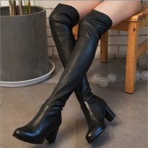 Winter 2018 new style hot style leather style round head high over knee boots chunky heels leather fashion women's boots elegant