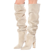 European and American fashion hot style women's shoes pleated shoes cream white shoes chunky heels natural suede over the knee high boots