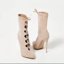 short boots stilettos heels pointed toe cross tied high heels women's shoes ladies hollow out fashion sandals large size