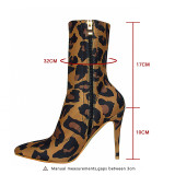 Fashion hot style women's shoes stilettos heels Pointed toe zipper elegant women's boots short leopard boots big size 41
