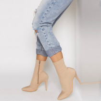 Winter 2019 fashion women's shoes pointed thin heel style women's ankle boots elegant sky blue brown  consice ladies boots