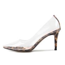Spring 2019 women's fashion single shoes stilettos heels sexy  pumps elegant pointed toe consice leopard printparty shoes transparent