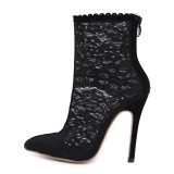 Fashion women's shoes pointed toe stilettos heel  black party shoes elegant pointed toe sexy lace summer boots