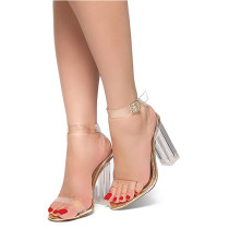 Fashion summer women's shoes 2019 sandals chunky heels elegant buckle gold white consice transparent sandals