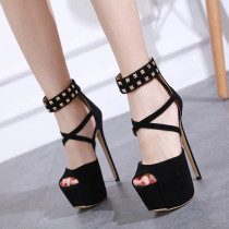 Fashion women's shoes for the summer of 2019 sandals buckle stilettos heels leather narrow band consice peep toe black party shoes elegant platform