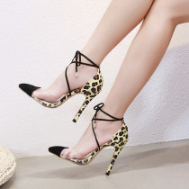 Fashion summer women's shoes 2019 sandals stilettos heels elegant pointed toe leopard print party shoes consice lace up leather