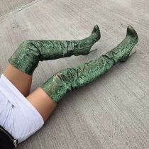 2019 over the knee boots fashion stilettos high heels green snakeskin large size sexy zipper booties women's shoes