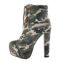 Fashion women's shoes in winter 2019 cross lacing round toe platform women's boots short boots camouflage leisure chunky heels