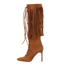 Fashion women's shoes in winter 2019 stilettos heels pointed toe women's boots knee high boots retro fringed brown cross lacing