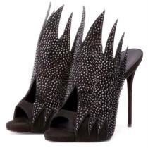 Summer 2019 fashion women's shoes stilettos heels slippers elegant peep toe party shoes personality strange style slides