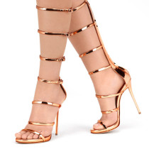 Summer 2019 fashion trend women's shoes stilettos heels zipper sandals sexy elegant party shoes office lady  narrow band big size gladiator gold