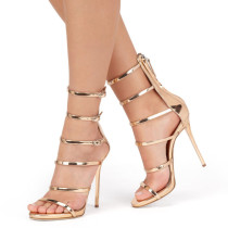 Summer 2019 fashion trend women's shoes stilettos heels zipper elegant sandals party shoes narrow band gladiator gold concise  big size