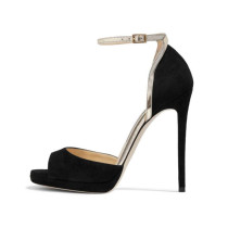 Summer 2019 fashion trend women's shoes stilettos heels buckle sandals sexy mature narrow band  elegant big size concise peep toe suede black party shoes