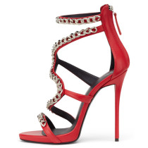 Summer 2019 fashion trend women's shoes sexy  stilettos heels zipper red big size sandals sweet elegant office lady metal chain  party shoes  wedding shoes