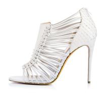 Summer 2019 fashion trend women's shoes sandals zipper stilettos heels elegant peep toe leather narrow band white party shoes
