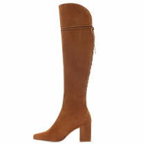Fashion women's shoes in winter 2019 pointed toe chunky heels  brown women's boots  comfortable sling back over the knee high boots