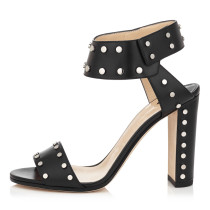 Summer 2019 fashion trend women's shoes metal decoration chunky heels sandals retro sling back  big size chunky heels suede brown black