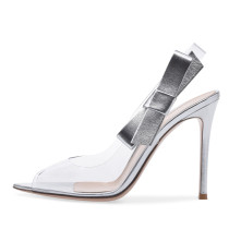 Summer 2019 fashion trend women's shoes silver green stilettos heels slip-on sandals sexy peep toe elegant party shoes