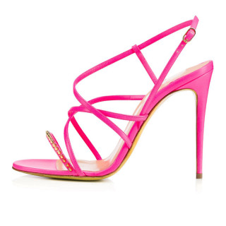 Summer elegant fashion women's shoes narrow band buckle strap rose red rivets sandals stilettos heels sexy party shoes