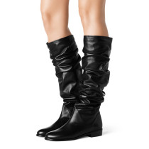 Summer 2019 fashion trend women's shoes elegant female boots black leather knee high boots black  big size concise