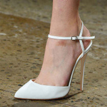 Summer big size 2019 fashion trend office lady women's shoes white stilettos heels buckle pink sandals narrow band  pointed toe party shoes elegant