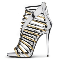 Summer silver sexy stilettos heels 2019 fashion trend office lady women's shoes big size zipper concise narrow band sandals elegant party shoes leather