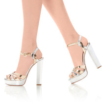 Summer  big size office lady 2019 fashion trend women's shoes chunky heels elegant gold narrow band sandals buckle waterproof party shoes