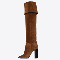 Fashion brown women's shoes in winter 2019 pointed toe chunky heels fringed brown elegant big size ethnic women's boots knee high boots