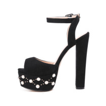 Summer 2019 fashion trend women's shoes chunky heels buckle elegant waterproof sandals black matte pearl big size office lady