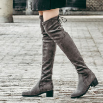 Fashion grey women's shoes in winter 2019 pointed toe  elegant over the knee high boots sweet sling back comfortable concise