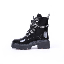Fashion black leather women's shoes winter 2019 cross lacing up casual round toe women's shiny chains boots matin boots comfortable