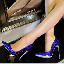 Summer shallow big size 2019 fashion trend women's shoes office lady stilettos heels sexy pumps elegant pointed toe blue party shoes