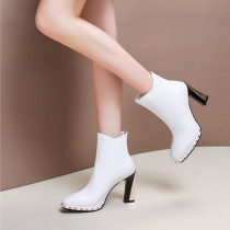 Fashion office lady women's shoes in winter 2019 zipper white  short boots rivet chunky heels elegant women's boots leather concise