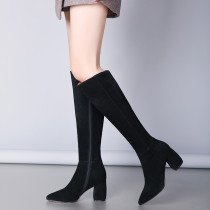 Fashion caramel women's shoes in winter 2019 chunky heels elegant suede women's boots knee high boots concise mature