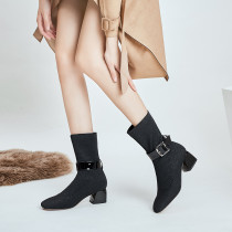 Fashion women's shoes in winter 2019 buckle women's boots half boots mature chunky heels party shoes   big size