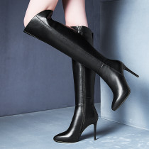 Fashion black leather women's shoes in winter 2019 stilettos heels pointed toe mature concise women's boots knee high boots elegant