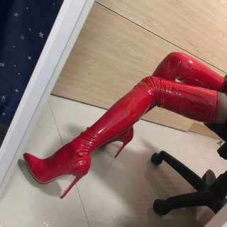Thigh high boots Over the knee boots stilettos high heels white black red leather fashion booties big size women's shoes