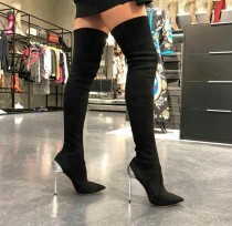 2019 fashion stilettos over the knee boots big size women's shoes high heels ladies women's boots red metal heels